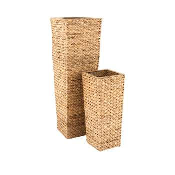 Set Of 2 Medium Sized Arrow Weave Vases With Square Base - Natural (Height 95/52cm)