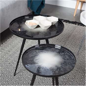 Set Of 2 Nesting Tables in Black Oil Drop (40 x 45cm)