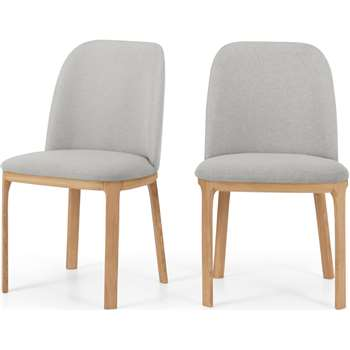 Set of 2 Nuno Dining Chairs, Oak and Hail Grey (H86 x W52 x D56cm)