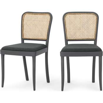 Set of 2 Raleigh Dining chairs, Charcoal and Rattan (H86 x W48 x D56cm)