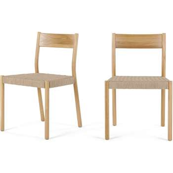 Set of 2 Rhye Woven Dining Chairs (H81 x W52 x D51cm)