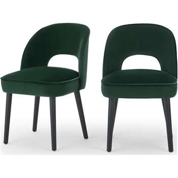 Set of 2 Rory Dining Chairs, Pine Green Velvet (H82 x W51 x D59cm)