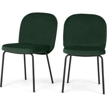 Set of 2 Safia Dining Chairs, Pine Green Velvet (H82 x W50 x D59cm)