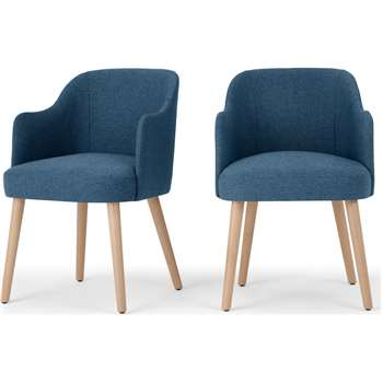 Set of 2 Swinton Carver Dining Chairs, Tonic Blue & Oak Stain (H76 x W48 x D58cm)