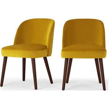 Set of 2 Swinton Dining Chairs, Saffron Yellow Velvet & Dark Stain (H76 x W48 x D58cm)