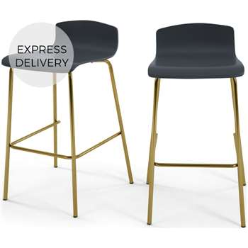 Set of 2 Syrus Barstools, Grey and Brass (H89 x W50 x D46cm)