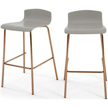 Set of 2 Syrus Barstools, Grey and Copper (H89 x W50 x D46cm)