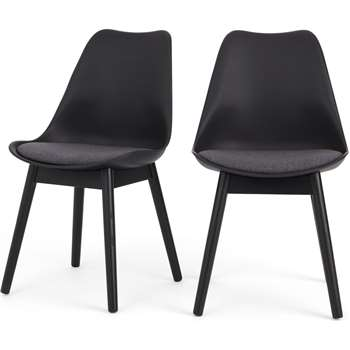 Set of 2 Thelma Dining Chairs, Black and Grey Fabric (H86 x W49 x D54cm)