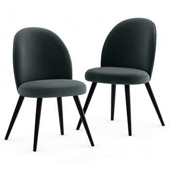 Set of 2 Velvet Grey Round Back Chairs (H81 x W49 x D53cm)