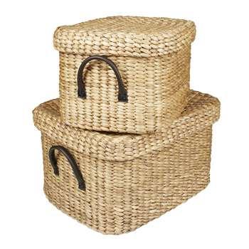 Set of 2 Water Hyacinth Rectangular Baskets