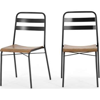 Set of 2 Wigbert Dining Chairs, Pine and Black (H85 x W47 x D52cm)
