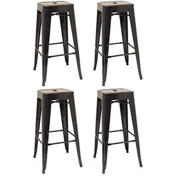Set of 4 - Hartleys Tall Industrial Design Stools - Black (76 x 31cm)
