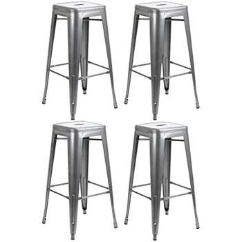 Set of 4 - Hartleys Tall Industrial Design Stools - Gunmetal Grey (76 x 31cm)