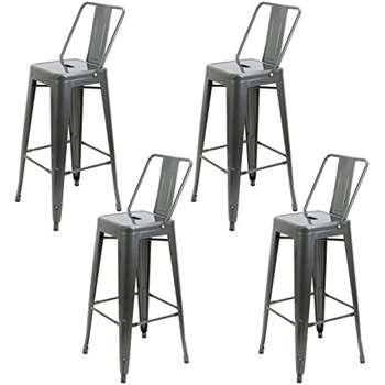 Set of 4 - Hartleys Tall Industrial Design Stools with Back Rests - Gunmetal Grey (104 x 31cm)