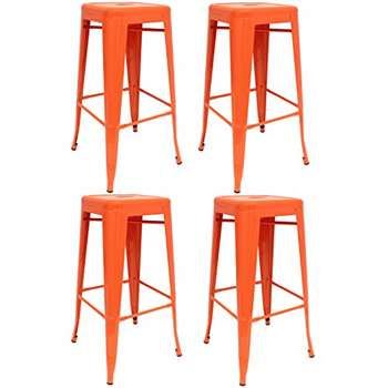 Set of 4 - Hartleys Tall Metal Industrial Design Stools - Orange (76 x 31cm)