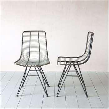 Set of Two Jana Metal Chairs (H83 x W48 x D60cm)