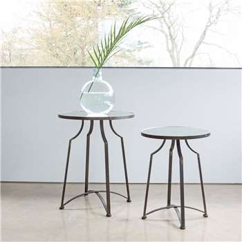 Set of Two Mirrored Top Side Tables (H62 x W50 x D50cm)