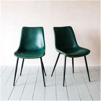 Set of Two Novak Green Chairs (H78 x W46 x D56cm)