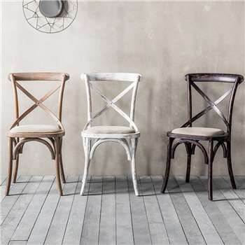 Set Of Two Oak Bistro Dining Chairs (H90 x W50 x D53.5cm)