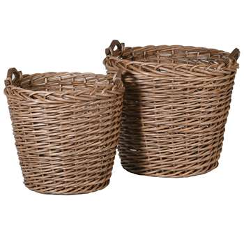 Set of Two Willow Baskets (H50 x W58 x D58cm)