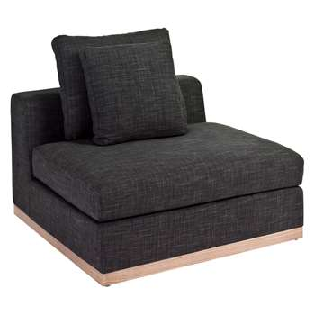 Seville modular armless single charcoal (60 x 98cm)
