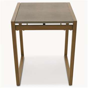 Seymour Shagreen Side Table in Antique Brass Finish (60 x 50cm)