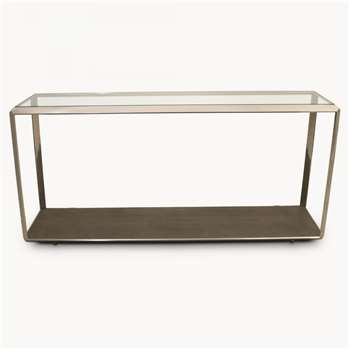 Seymour Stainless Steel and Shagreen Glass Top Console (60 x 160cm)