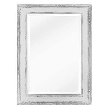 Shabby Chic Rectangular Wall Mirror, White (90 x 60cm)