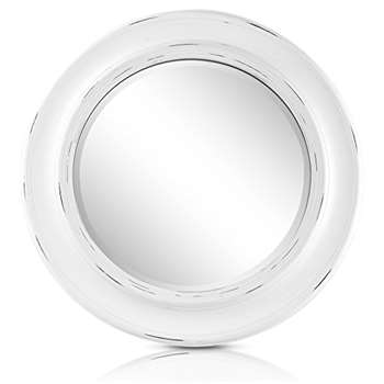 Shabby Chic Round Wall Mirror, White (Diameter 66cm)