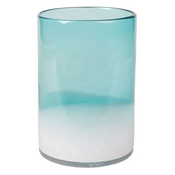Shaded Blue and White Tinted Glass Vase (H20 x W14 x D14cm)