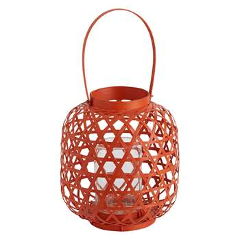 Shae Orange Round Bamboo Lantern With Handle (H23 x W26 x D26cm)