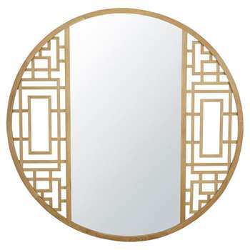 SHAN - Round Carved Oak Mirror (Diameter 110cm)