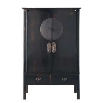 SHANGHAÏ Recycled Elm Wardrobe in Black (H183 x W117 x D56cm)
