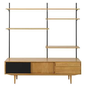 SHEFFIELD Black and natural-coloured vintage 3-door TV shelf 200 x 180cm