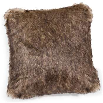 SHEFFORD faux fur cushion in brown (45 x 45cm)