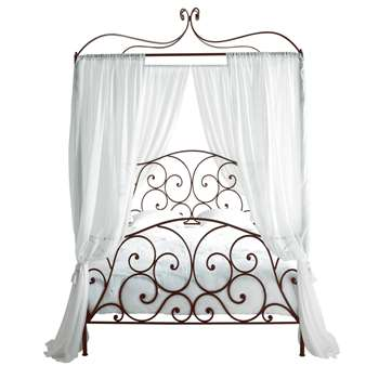 Sheherazad Four-Poster Metal Double Bed in Brown