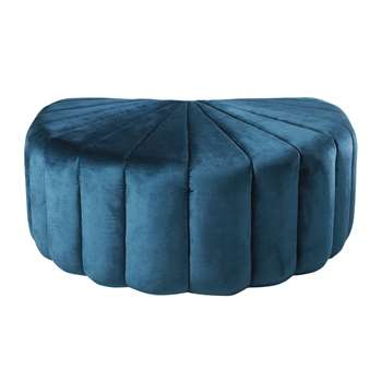 Shell Pouffe in Blue Velvet and Pine (H32 x W80.5 x D61.5cm)