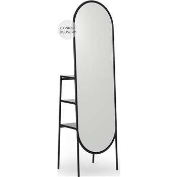 Shelva Freestanding Dress Storage Mirror with Shelves, Matt Black (H172 x W52 x D38cm)