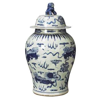 Shenlong Lidded Jar - White/Blue (63 x 33cm)