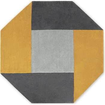 Shenzi Hand Tufted Wool Rug, Large Octagon, Grey & Mustard Yellow (H200 x W200cm) (Diameter 200cm)