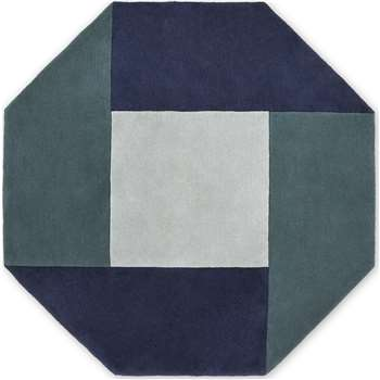 Shenzi Hand Tufted Wool Rug, Large Octagon, Navy & Teal Blue (H200 x W200cm) (Diameter 200cm)