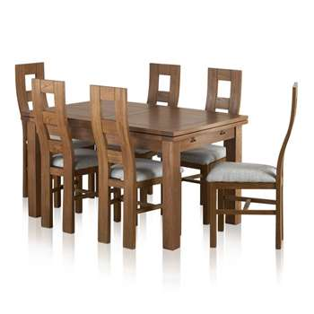 Sherwood Solid Oak Dining Set - 4ft 7 inches Extending Table with 6 Wave (H78 x W140 x D90cm)