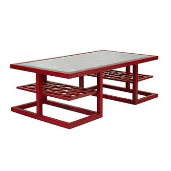 Shiga Coffee Table With Shelves - Chinese Red (45 x 135cm)