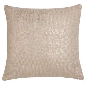 SHINE White and Gold Cotton Cushion Cover (40 x 40cm)