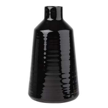 SHINNY - Black Stoneware Vase (H21 x W12 x D12cm)