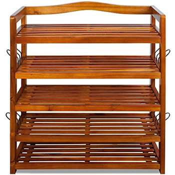 Shoe Storage Rack Tropical Acacia Hardwood (82 x 64 x 26cm)