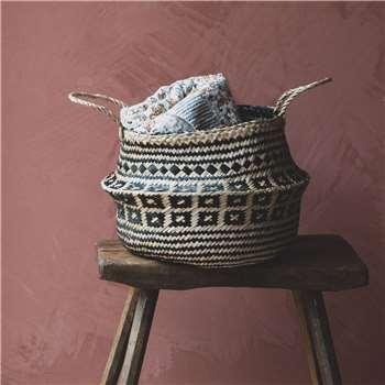 Sidrah Black Seagrass Basket (H33 x W35 x D35cm)