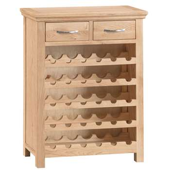 Siena Oak Wine Cabinet - holds up to 30 bottles (H94 x W75 x D30cm)
