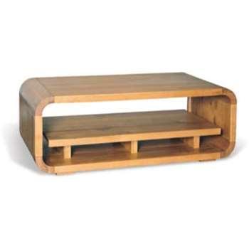 Signature North Retro Oiled Oak Coffee Table with Shelf (Width 120cm)