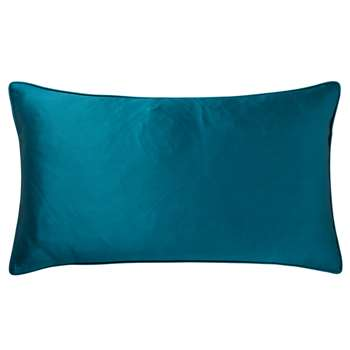 Silk and Cotton Cushion Cover, Small - Blue Topaz (35 x 60cm)
